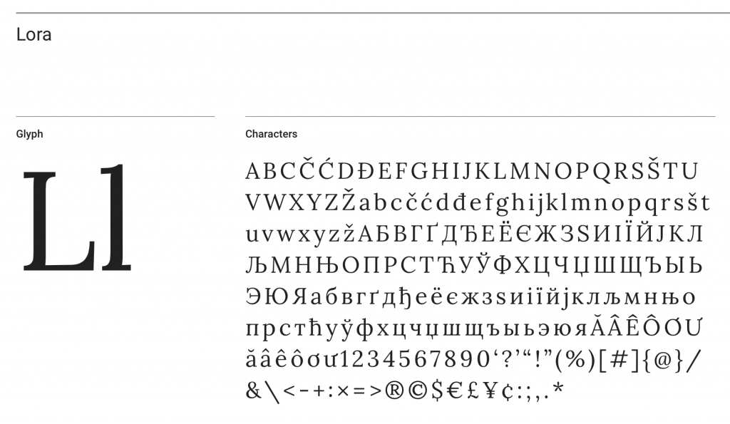 Lora font sample