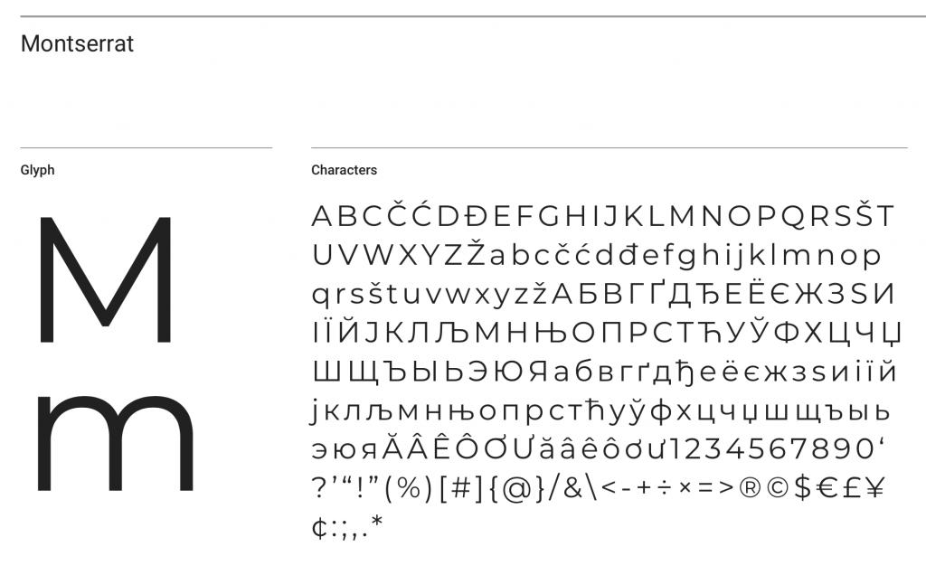 Montserrat font sample