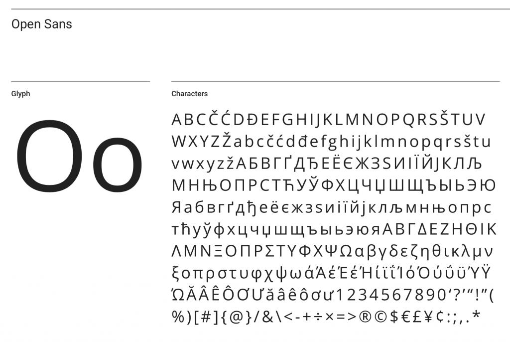 Open Sans font sample