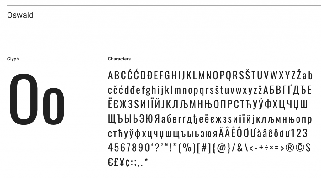 Oswald font sample