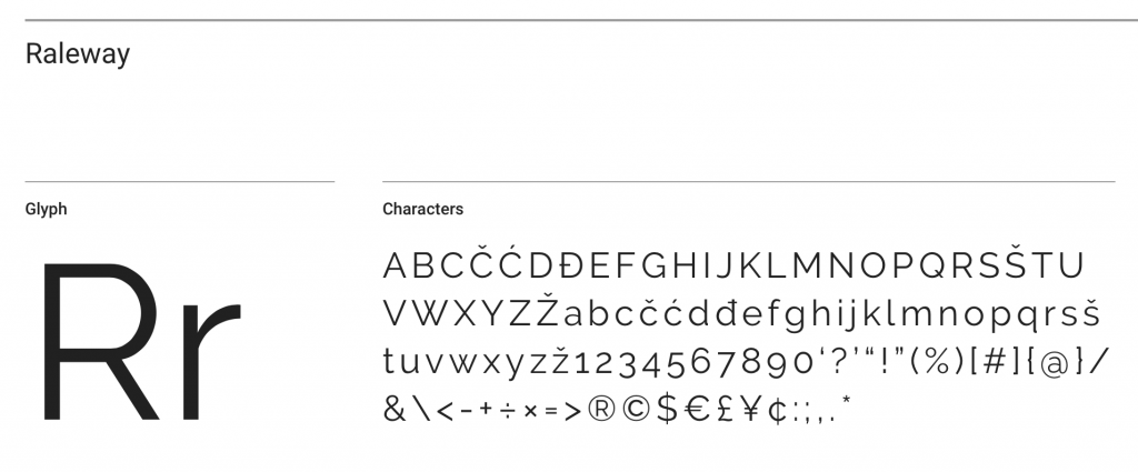 Raleway font sample