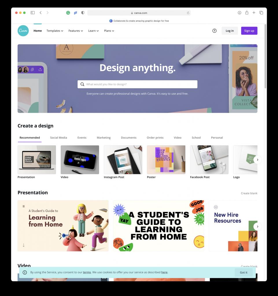 Preview of the Canva.com website