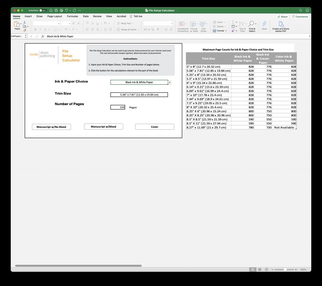 Preview of the KDP File Setup Calculator main menu
