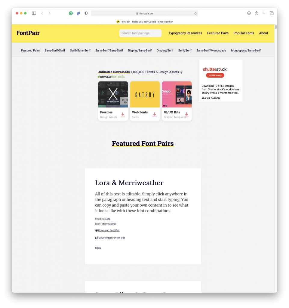 Preview of the FontPair.co website