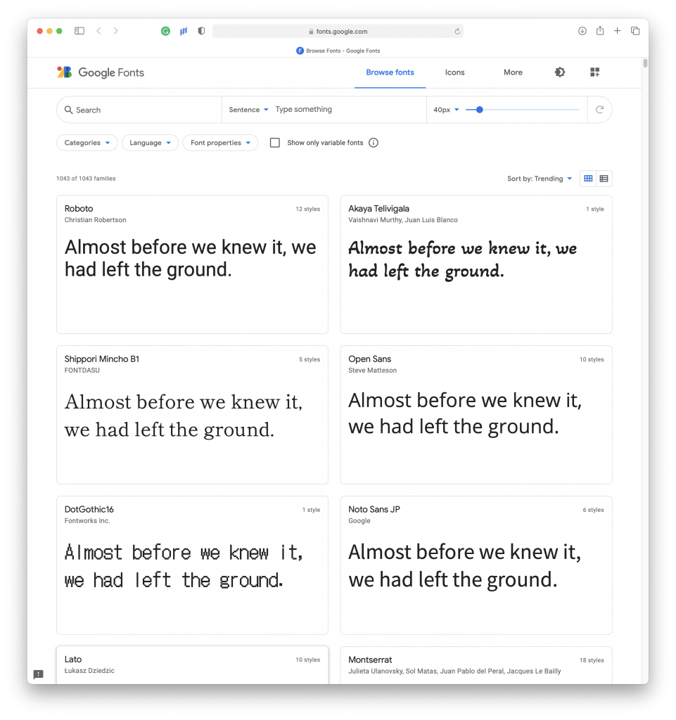Preview of the GoogleFonts website