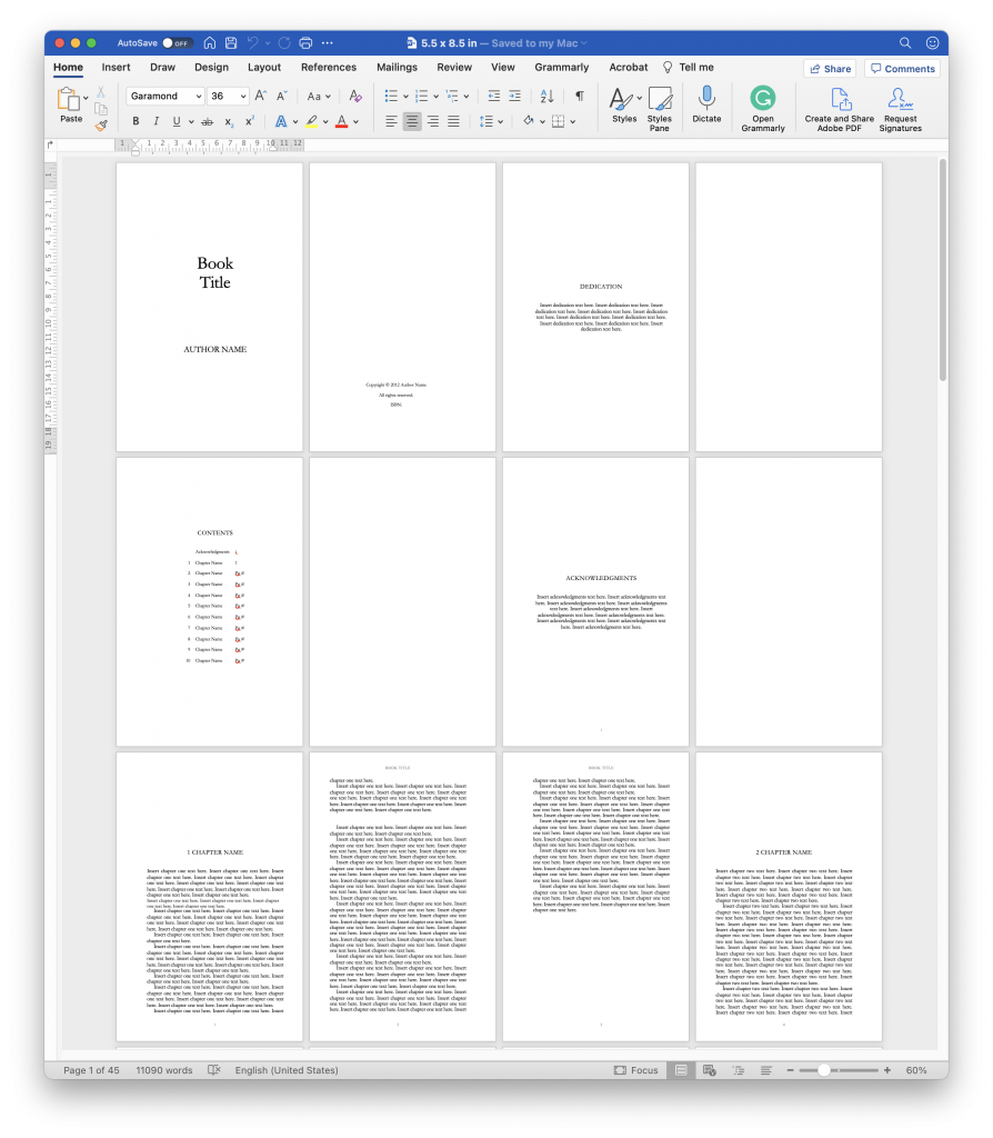 A sample of one of the Amazon KDP Manuscript Templates